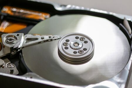 Open hard disk close up view
