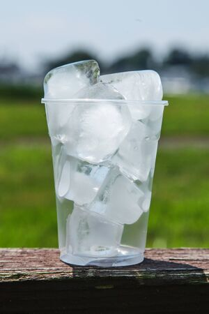 Cup full of ice outdoor