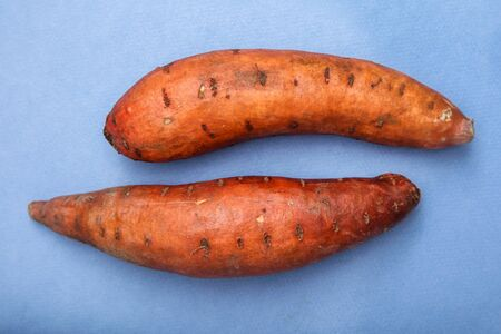 Two sweet potatoes on blue background