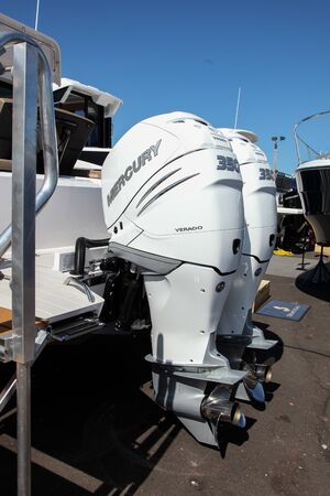 NORWALK, CT, USA - SEPTEMBER 19, 2019: Axopar 37 Cabin egines close up shoving on Progressive Norwalk Boat Show Day 1 From September 19-22, 2019.