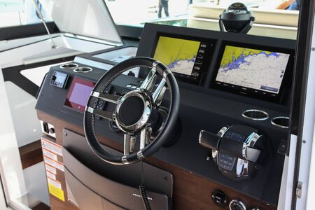 NORWALK, CT, USA - SEPTEMBER 19, 2019: Axopar 37 Cabin control panel shoving on Progressive Norwalk Boat Show Day 1 From September 19-22, 2019.