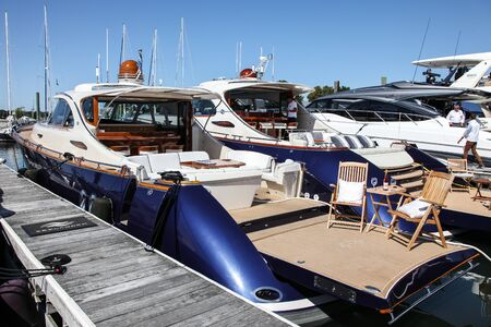 NORWALK, CT, USA - SEPTEMBER 19, 2019: Zeelander 55 shoving on Progressive Norwalk Boat Show Day 1 From September 19-22, 2019.