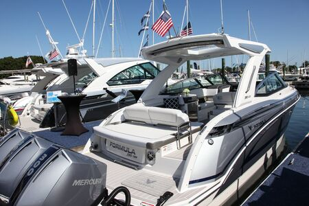 NORWALK, CT, USA - SEPTEMBER 19, 2019: Formula 330 CBR   shoving on Progressive Norwalk Boat Show Day 1 From September 19-22, 2019.