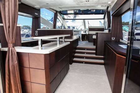 NORWALK, CT, USA - SEPTEMBER 19, 2019: New 2020 Galeon 560 SKY  shoving on Progressive Norwalk Boat Show Day 1 From September 19-22, 2019.