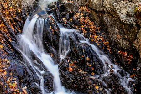 Autumn little waterfalls with and wet stones leaves around
