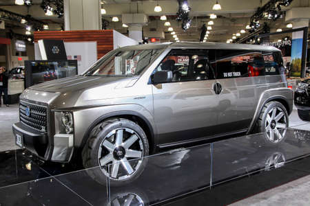 NEW YORK, NY, USA - APRIL 17, 2019: Toyota Hybrid TJ Cruiser at the New York International Auto Show 2019, at the Jacob Javits Center. This was Press Preview Day One of NYIAS