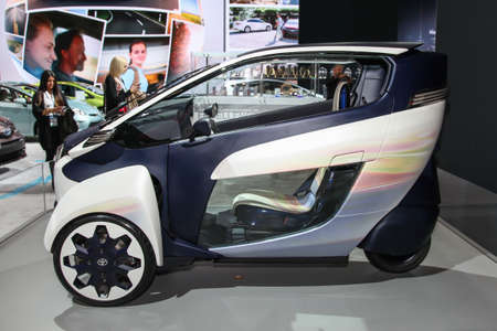 NEW YORK - APRIL 1: Toyota exhibit  at the 2015 New York International Auto Show during Press day,  public show is running from April 3-12, 2015 in New York, NY. 報道画像