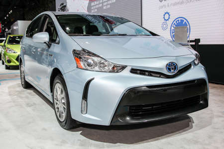 NEW YORK, NY - APRIL 1, 2015: Toyota exhibit Prius v  at the 2015 New York International Auto Show during Press day,  public show is running from April 3-12, 2015 in New York, NY.