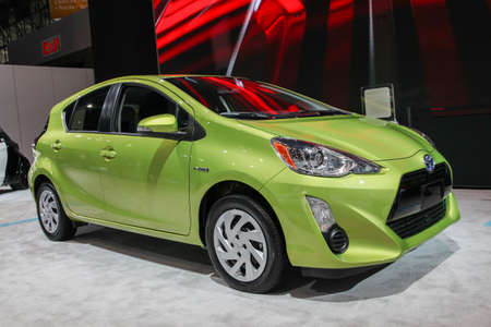NEW YORK - APRIL 1: Toyota exhibit Prius c  at the 2015 New York International Auto Show during Press day,  public show is running from April 3-12, 2015 in New York, NY.