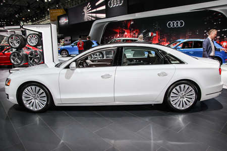 NEW YORK, NY - APRIL 1, 2015: Audi exhibit Audi A8L at the 2015 New York International Auto Show during Press day,  public show is running from April 3-12, 2015 in New York, NY.