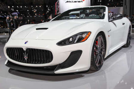 NEW YORK, NY, USA - APRIL 1, 2015: Maserati exhibit Maserati GranTurismo Convertible MC Centennial at the 2015 New York International Auto Show during Press day,  public show is running from April 3-12, 2015 in New York, NY.