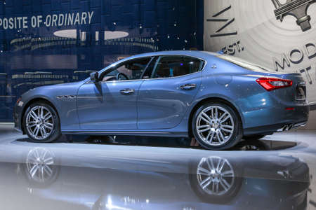 NEW YORK, NY - APRIL 1, 2015: Maserati exhibit Maserati Ghibli S Q4 at the 2015 New York International Auto Show during Press day,  public show is running from April 3-12, 2015 in New York, NY. 報道画像