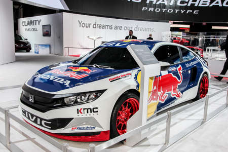 NEW YORK, NY - MARCH 23, 2016: A Honda Civic Coupe with Red Bull Rally cross painting exhibit at the 2016 New York International Auto Show during Press day, public show is running from March 25th through April 3, 2016 in New York, NY.