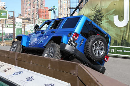 NEW YORK, NY, 2015 - APRIL 1: Camp Jeep outside Javits Center at the 2015 New York International Auto Show during Press day, public show is running from April 3-12, 2015 in New York, NY.