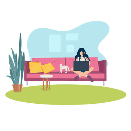 Woman working at home on laptop. Working from home concept. Flat style vector illustration. Freelance, remote working in comfortable conditions, online education, relaxed workspace concept.