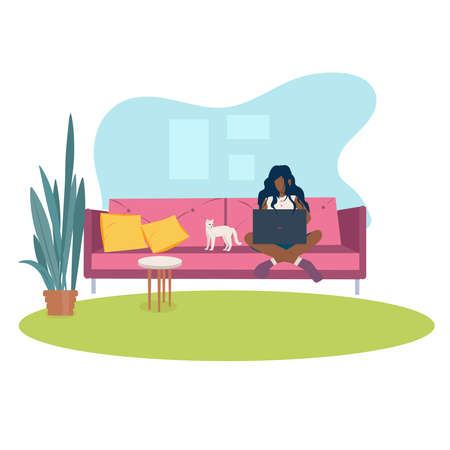 Working from home concept. Student studying from home online education. Flat style vector illustration. Freelance, remote working in comfortable conditions, relaxed workspace concept.