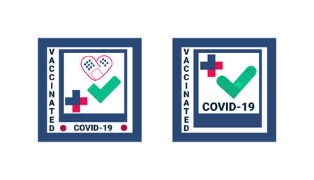 Vaccination design template for card, poster, badge, label, sticker etc. Covid-19 vaccine injection flat style vector illustration. Colorful vaccination concept with medical patch. Vektoros illusztráció