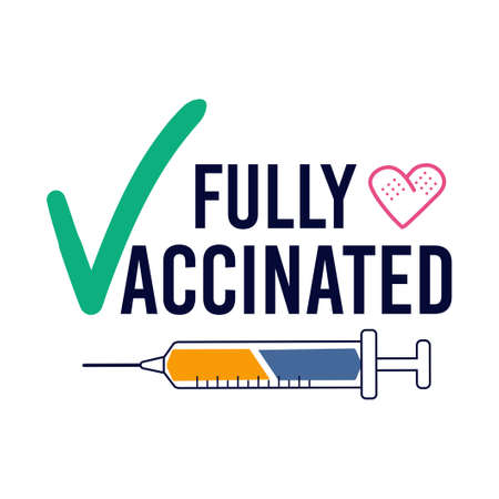 Vaccination concept with syringe and medical patch. Vaccinated sticker label card badge design. Vaccine injection concept. Flat style vector illustration.