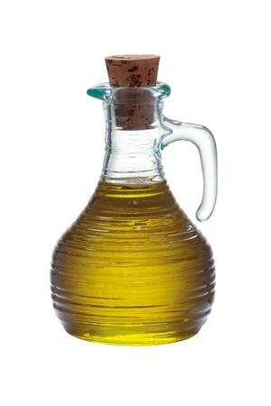 kurk fles olijfolie op een witte achtergrond Stockfoto