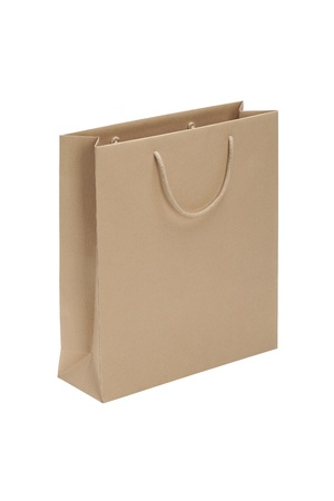 bruine papieren zak op een witte achtergrond