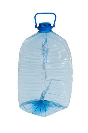 crushed blue plastic bottle isolated on white background, recycling photo