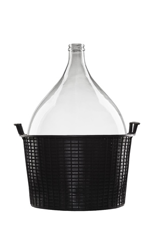 carboy: demijohn in black basket isolated on white background, carboy