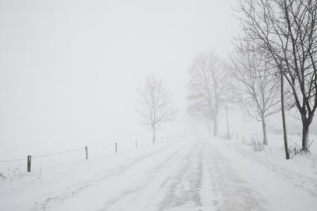 blizzard on road, winter weather, snowstorm, white snow landscape Imagens