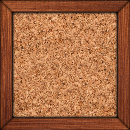 cork background in brown wooden frame or rough texture photo