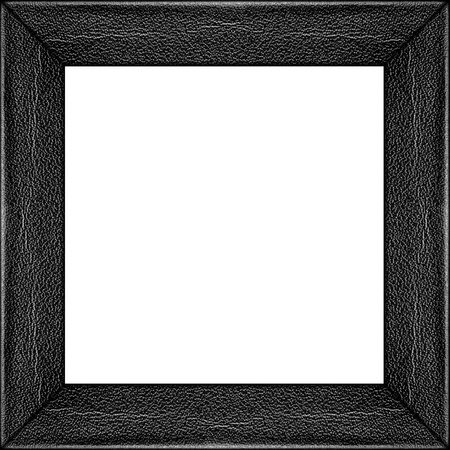 silver picture frame isolated inside or grey leather texture photo