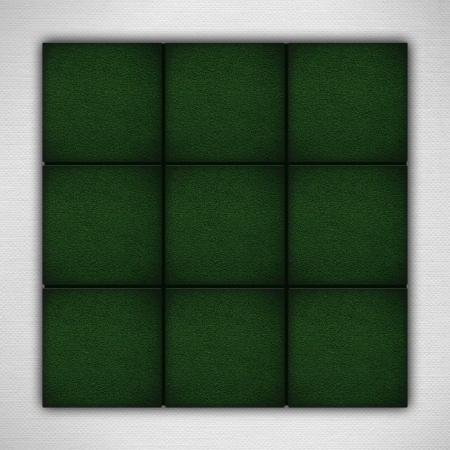 nine green aquare backgrounds on white paper texture or circle nad cross game board photo