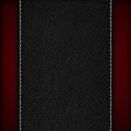 black leather background with seam on red rough texture