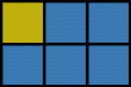 yellow and blue six squares background or color texture with black border