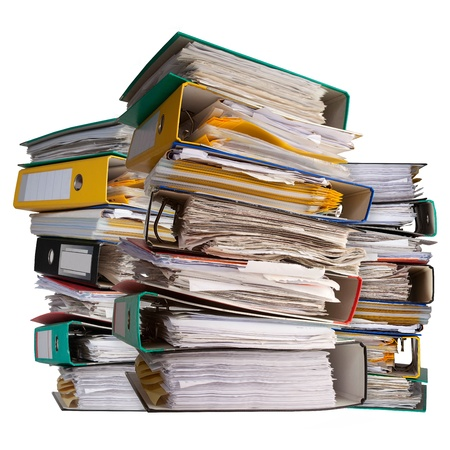 secretarial: three piles of file binder with documents
