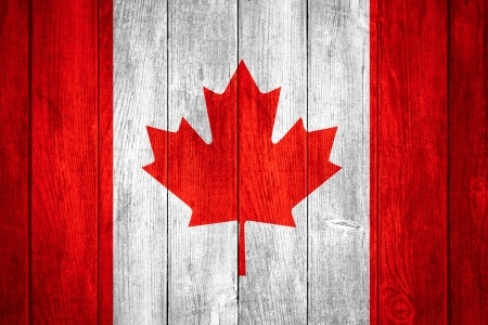 canadian flag: Canada flag or white or red and white Canadian banner on wooden background