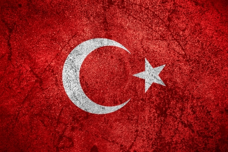 flag of Turkey or Turkish banner on rough metal background