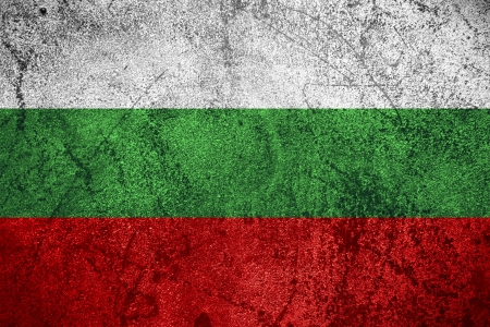 flag of Bulgaria or Bulgarian banner on rough metal background photo
