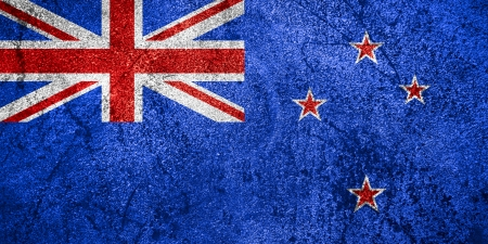 flag of new zealand: flag New Zealand of or banner on rough metal background