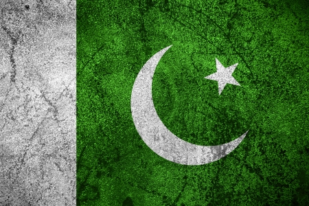 pakistani pakistan: flag of Pakistan or Pakistani banner on rough metal background Stock Photo