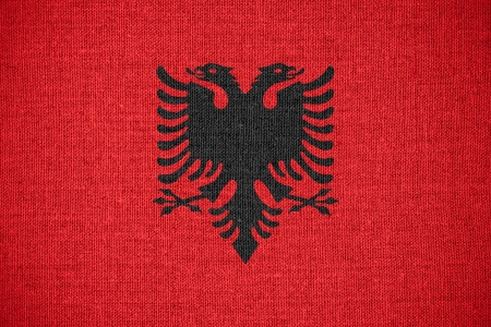 albanian: flag of Albania or Albanian banner on canvas background