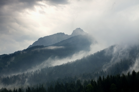 giewont: stormy weather in mountains or Giewont Peak, Tatra Mountains, Poland