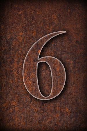 sixth: number six on rusty iron brown background