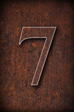 number seven:  number seven on rusty iron brown background  Stock Photo
