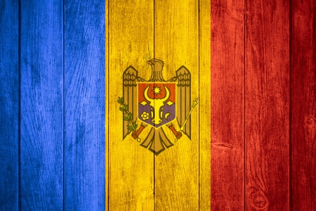 moldovan: flag of Moldova or Moldovan banner on wooden background