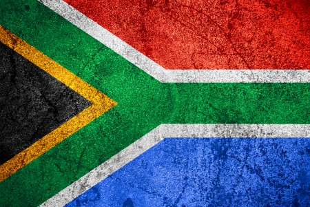 rsa: Republic of South Africa flag or RSA banner on rough pattern iron background Stock Photo