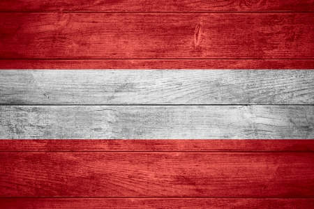 flag of Austria or Austrian banner on wooden background Stockfoto