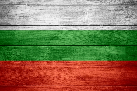 bulgarian: flag of Bulgaria or Bulgarian banner on wooden background