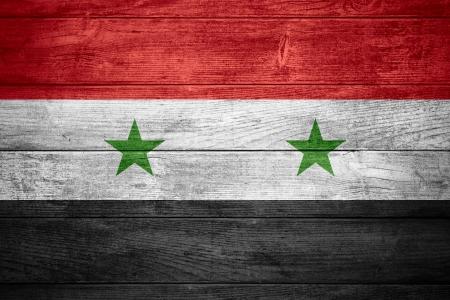 Syryjski: Flaga Syrii lub syryjskie banner na drewnianym tle