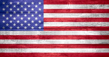 United States of America flag or  American banner on wooden background