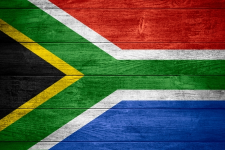 rsa: flag of Republic of South Africa or African banner on wooden background