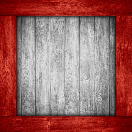 frame wood: white wooden background in red wood frame or grey planks texture